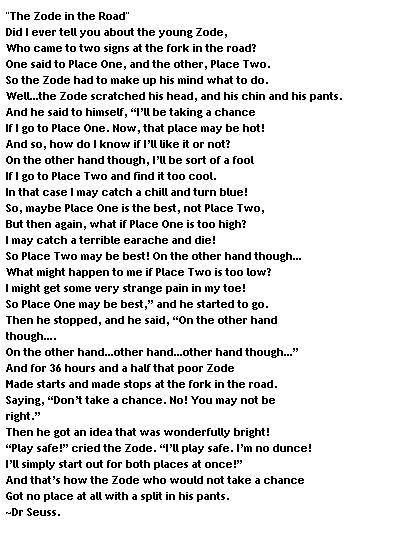The Zode in the Road - Great poem by Doctor Seuss